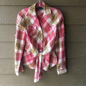 Jones New York signature plaid front tie PM blouse